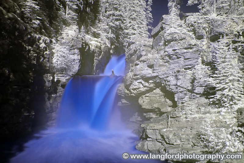 Infrared shot of St Mary Falls. They are located along the trail around the West side of St Mary Lake. The trail can be reached by parking at any of the stops on the West side of the lake.  This shot is from the bridge near the falls.