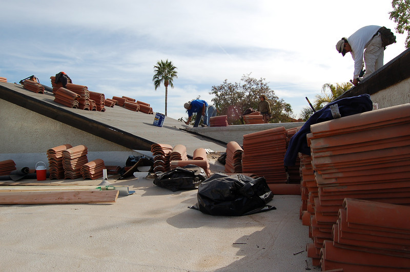 Roofers at work.