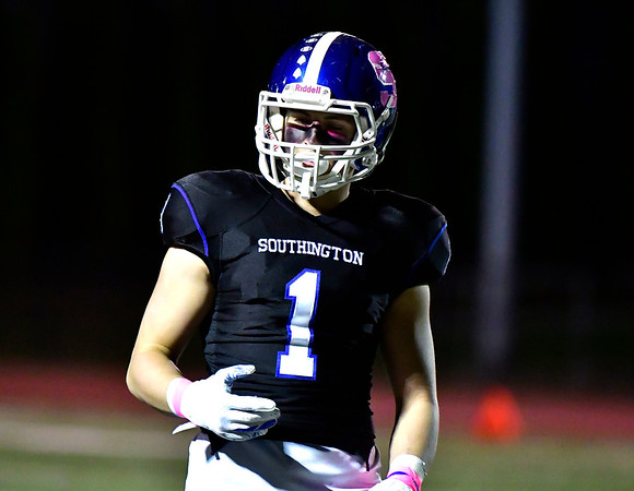 10/11/2019 Mike Orazzi | StaffrSouthingtons Joshua Vitti (1) during Friday night's football game with Manchester in Southington. r