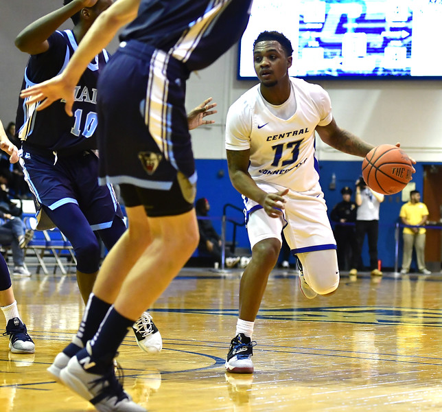 12/7/2019 Mike Orazzi | Staff CCSU's  Jamir Reed (13) during Saturday's mens basketball game with the University of Maine in New Britain.
