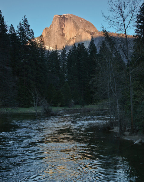 Half Dome & Merced River from Sentinel Bridge at sunset, srss
