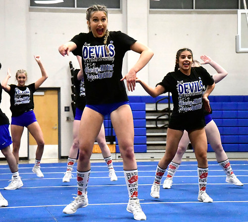 3/6/2020 Mike Orazzi | StaffrPlainville High School Cheerleaders preparing for the state competition on Friday night at PHS. r