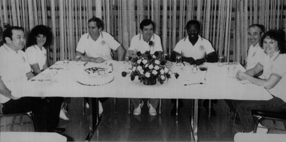 Description of . The crew for the space shuttle Challenger have breakfast Monday morning at the Kennedy Space Center. From left are Mission Specialist Ellison Onizuka, Mission Specialist Judy Resnick, Pilot Michel Smith, Commander Francis Scobee, Mission Specialist Ronald McNair, Payload Specialist Gregory Jarvis and teacher Christa McAuliffe. The Challenger is scheduled to be launched later today.  Denver Post Library Archive