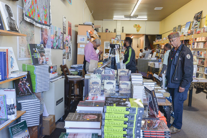 Customers at Eso Won Books in Leimert Park Village.