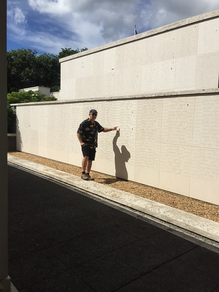 John finding his great uncle, Joseph E Geczy, on the Wall of the Missing