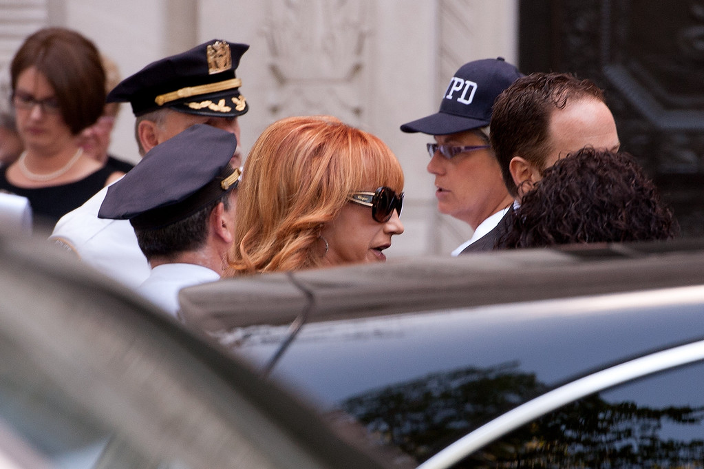 . Kathy Griffin attends the Joan Rivers memorial service at Temple Emanu-El on September 7, 2014 in New York City. Rivers passed away on September 4, 2014 after suffering respiratory and cardiac arrest during vocal cord surgery on August 28, 2014.  (Photo by D Dipasupil/Getty Images)
