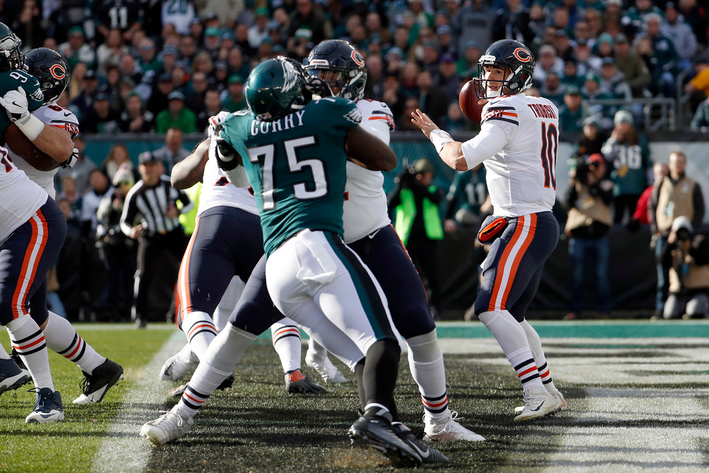 . Chicago Bears\' Mitchell Trubisky passes during the first half of an NFL football game against the Philadelphia Eagles, Sunday, Nov. 26, 2017, in Philadelphia. (AP Photo/Chris Szagola)