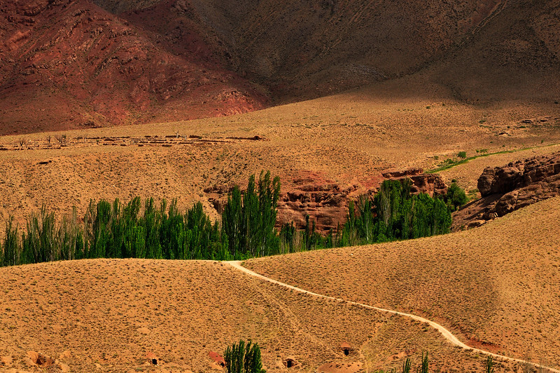 Gravel road Leading into the Mountain, Karkas Mountains, Iran.