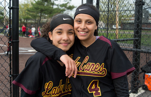 04/29/19 Wesley Bunnell | Staff New Britain softball defeated Conard at Chesley Park on Monday afternoon. Xandra Silva (3) and Nataly Hernandez (4).
