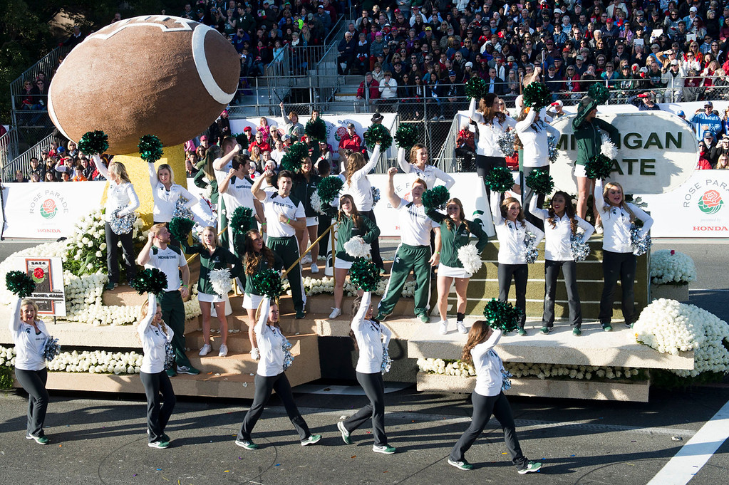 . Michigan State University float during 2014 Rose Parade in Pasadena, Calif. on January 1, 2014. (Staff photo by Leo Jarzomb/ Pasadena Star-News)
