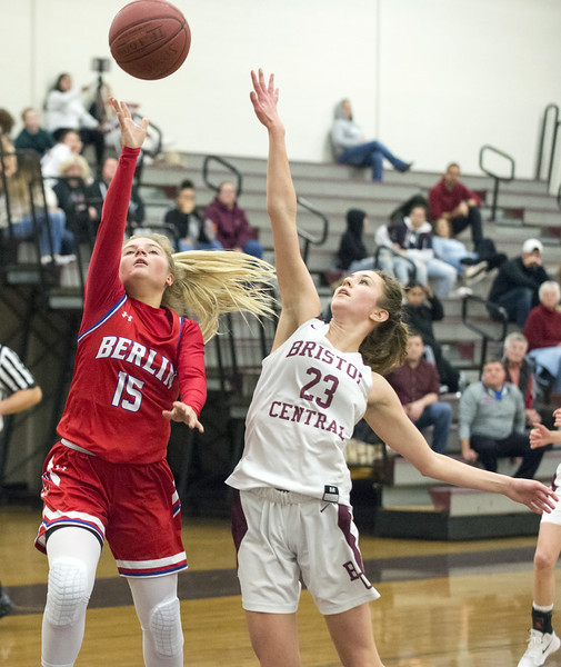 01/10/20  Wesley Bunnell | Staff  The Bristol Central girls basketball team was defeated at home on Friday night by Berlin. Berlin's Carly Grega (15) and BC's Ella Watson (23).