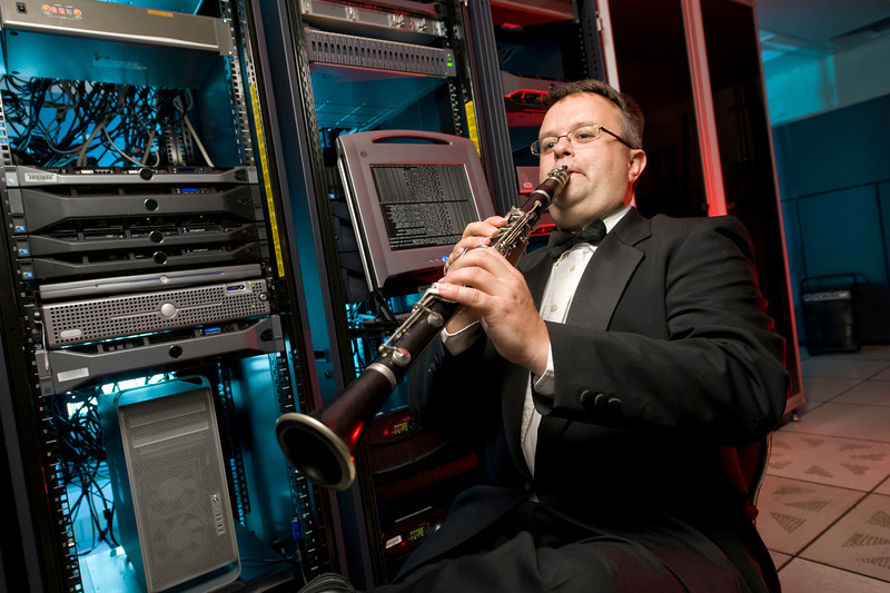 Aaron Childs, WSU Network Administrator and member of the Westfield State University Wind Symphony