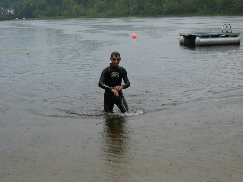 It Came From The Abyss!!!!! Is it the Creature from the Black Lagoon? Is it Godzilla? No! It's Mike wrapping up the swim.