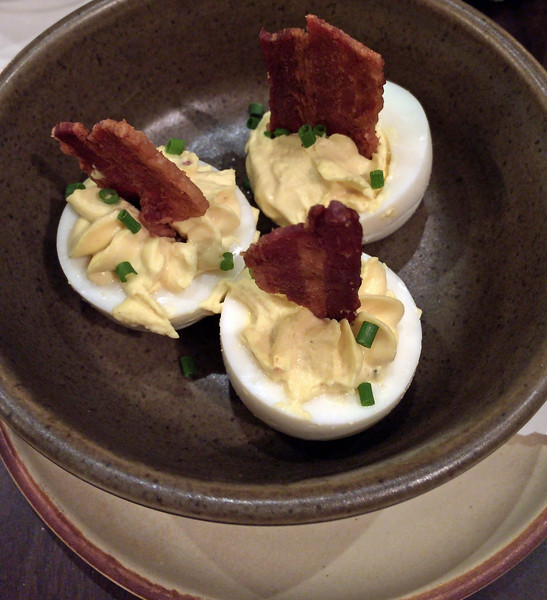 Deviled eggs with bacon appetizer at The Copper Grouse at the Taconic Hotel in Manchester, VT