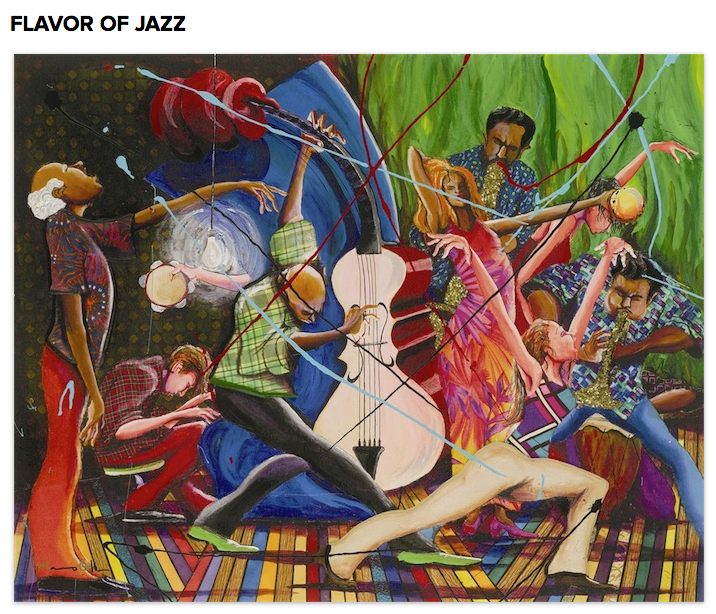 """. Marcus Glenn\'s \""""Flavor of Jazz,\"""" Giclee on canvas with hand embellishment and bas-relief.  Photo: Park West Gallery"""