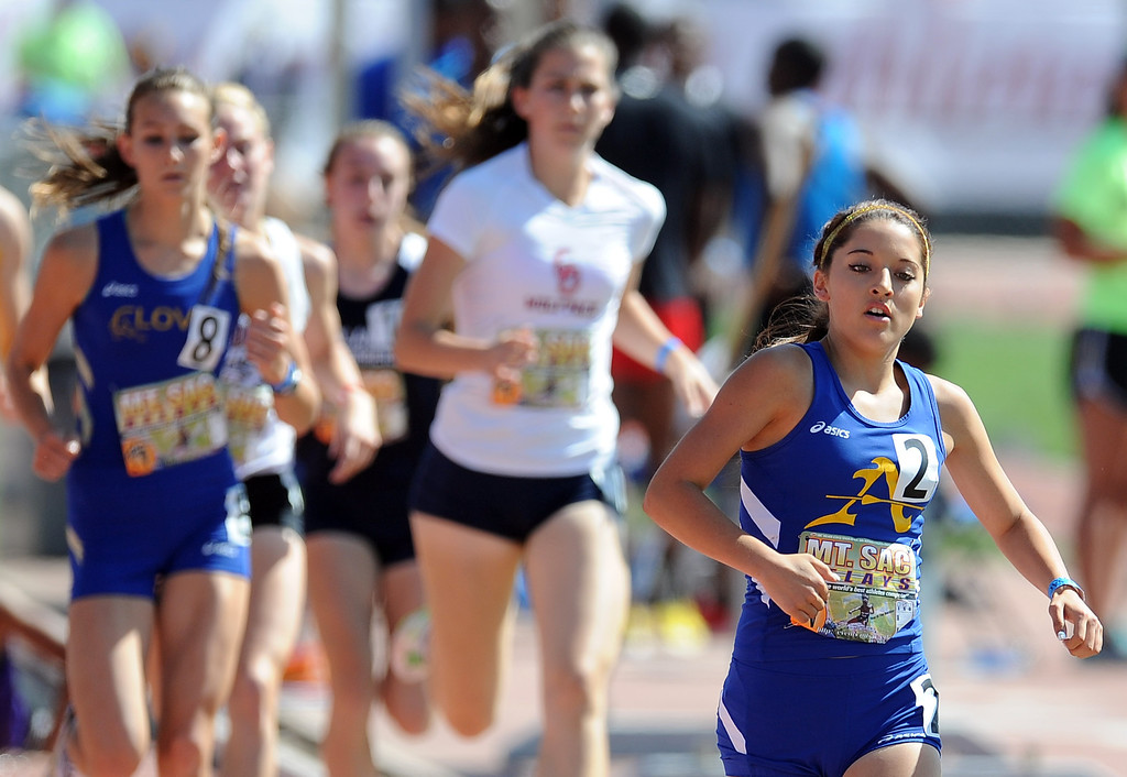 . Emily Hurbert of Bishop Amat competes in the 800 meter seeded high school during the Mt. SAC Relays in Hilmer Lodge Stadium on the campus of Mt. San Antonio College on Saturday, April 20, 2012 in Walnut, Calif.    (Keith Birmingham/Pasadena Star-News)