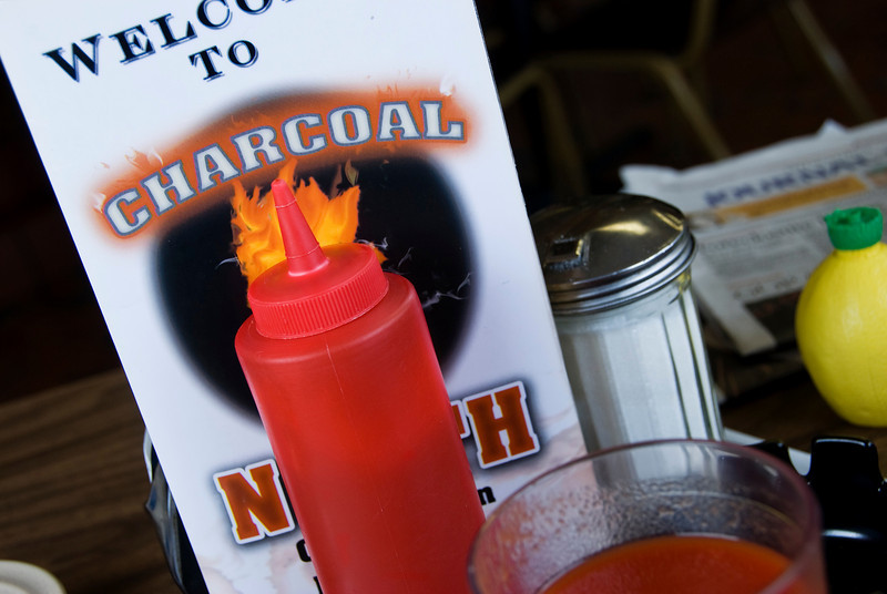 The Charcoal Inn (North), one of our traditional stops on our drive to Door County. The catsup is there, but we don't use it!