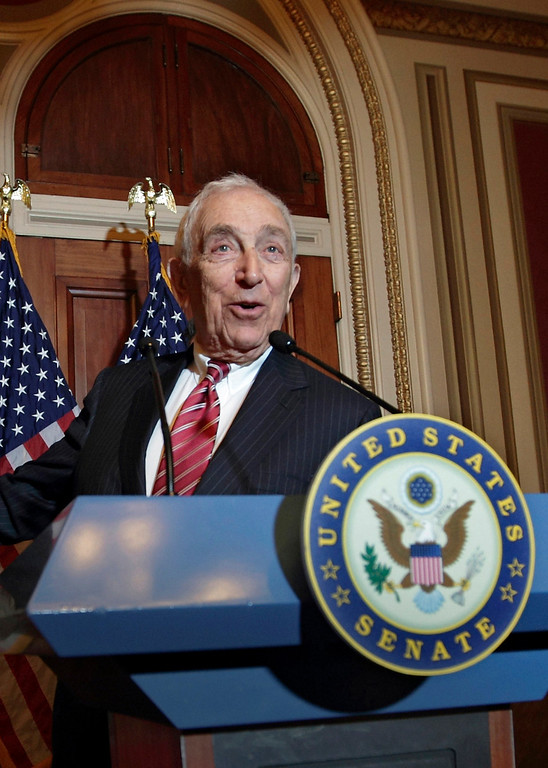 . In this Nov. 2, 2011, file photo, Sen. Frank Lautenberg, D-N.J., speaks during a news conference on Capitol Hill in Washington. Lautenberg, a multimillionaire New Jersey businessman and liberal who was called out of retirement for a second tour of duty in Congress, died Monday, June 3, 2013, at age 89. (AP Photo/J. Scott Applewhite, File)