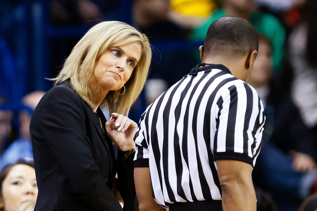 . Arizona State head coach Charli Turner Thorne reacts to a call during the first half in an second-round game against Notre Dame in the NCAA women\'s college basketball tournament  in Toledo, Ohio, Monday, March 24, 2014. (AP Photo/Rick Osentoski)