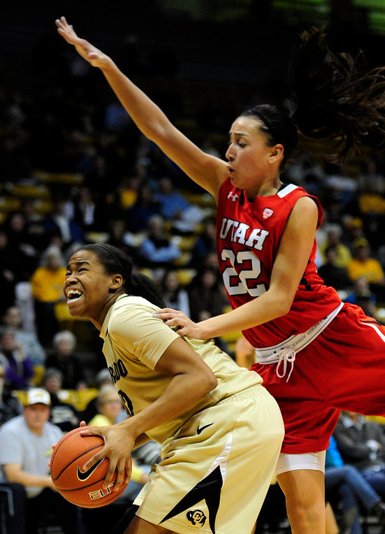 . Colorado\'s Ashley Wilson (left) is pressured by Utah\'s Danielle Rodriguez (right) during their basketball game at the University of Colorado in Boulder , Colorado January 8, 2013. BOULDER DAILY CAMERA/ Mark Leffingwell