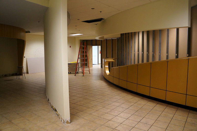 The counter that was once in the Hessler Commons area is now enclosed behind temporary white walls.  See a virtual tour of the new Jochum Performing Arts Center here: http://www.lutheranwest.com/UTS/Media-Gallery/Jochum-Architectural-Rendering