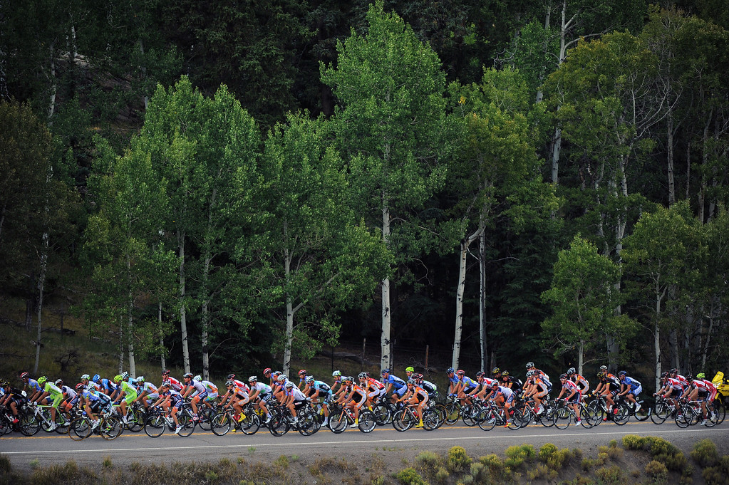 . Riders make their way along Highway 135 towards Crested Butte. The annual USA Pro Challenge held it\'s second stage today August 21st, 2012 starting in the small western slope town of Montrose and finished in Mount Crested Butte. BMC Racing\'s Tejay Van Garderen won the stage. Helen H. Richardson, The Denver Post