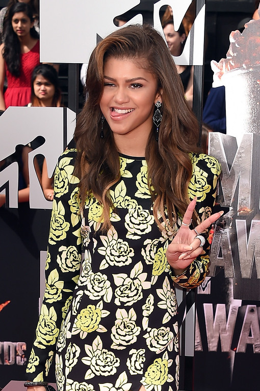 . Actress Zendaya attends the 2014 MTV Movie Awards at Nokia Theatre L.A. Live on April 13, 2014 in Los Angeles, California.  (Photo by Jason Merritt/Getty Images for MTV)