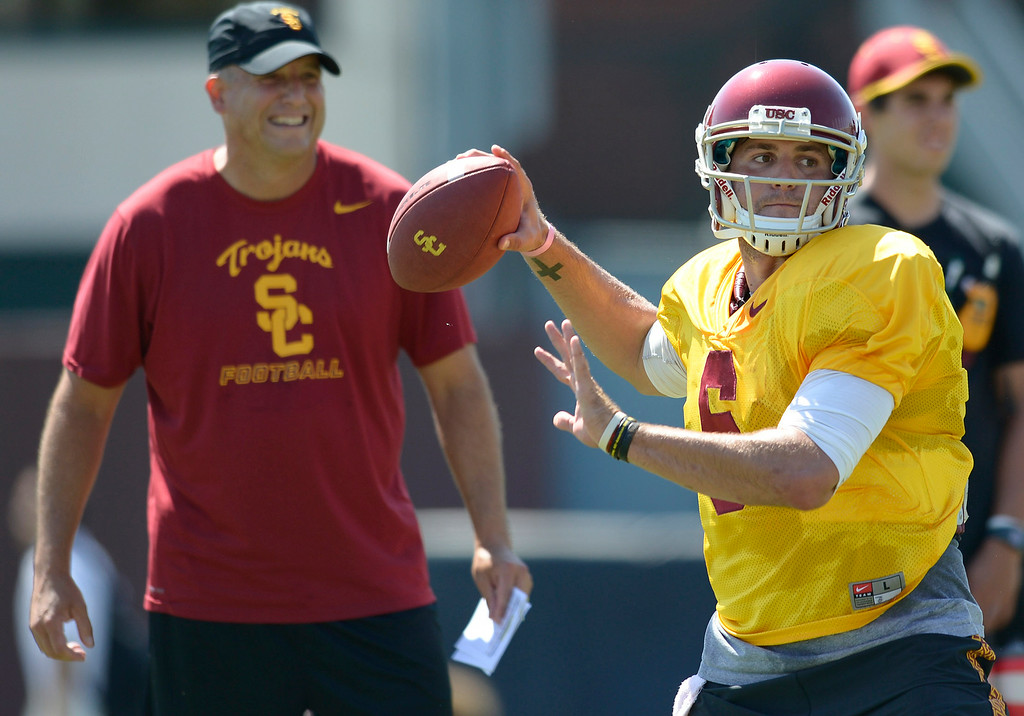 . QB Cody Kessler. Football practice is in full swing on the Howard Jones Field at USC. Los Angeles, CA. 8/6/2014(Photo by John McCoy Daily News)