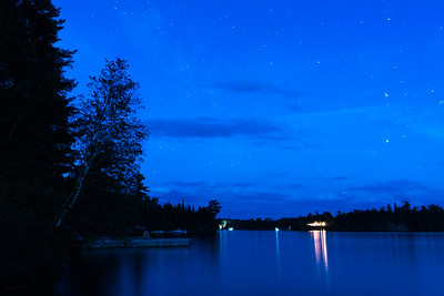 Lightning and Stars at the Lake