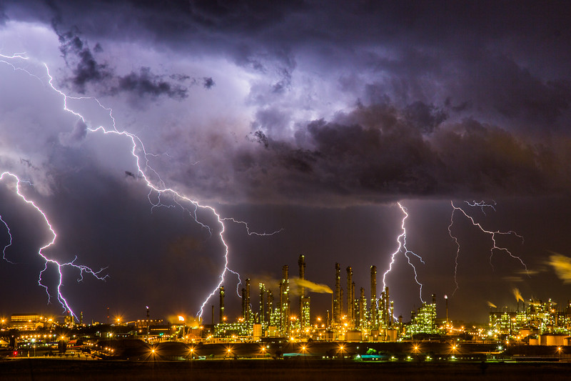 Wishing you an electrifying New Year! This is one of my favourite non-wildlife pics from 2016. It looks like an alien cityscape, but it's a single 4 second exposure of a lightning storm over a petroleum refinery near Jo'burg, South Africa. It quickly moved in my direction and it wasn't long before I had to pack up and run. #BBCEarth #EarthOnLocation #Lightning #Weather #Storm #Refinery #SouthAfrica #Alien #City #Storm