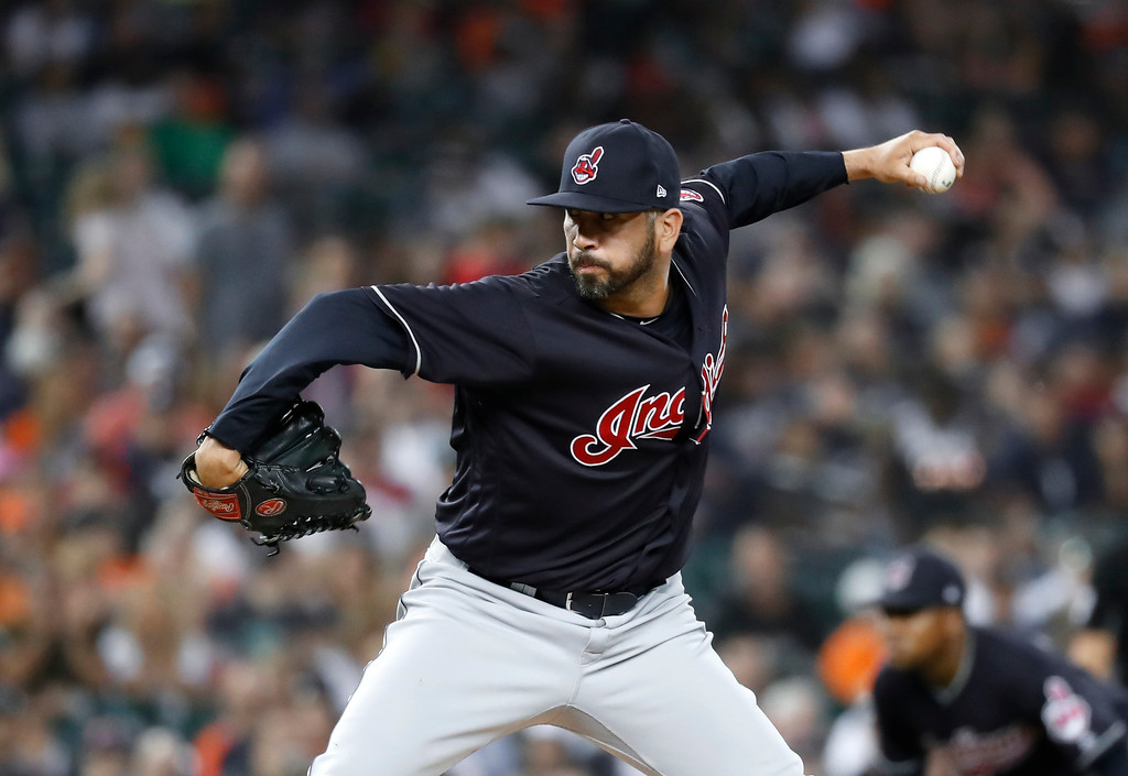 . Cleveland Indians relief pitcher Oliver Perez throws against the Detroit Tigers in the seventh inning of a baseball game in Detroit, Friday, July 27, 2018. (AP Photo/Paul Sancya)