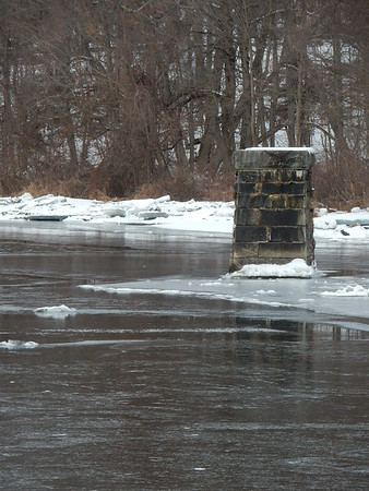 Ice on the Farmington River in Unionville, Connecticut