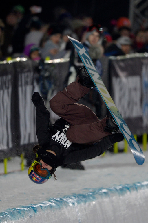 . Queralt Castellet flips during the women\'s snowboard half pipe final. Winter X Games on Saturday, January 24, 2015. (Photo by AAron Ontiveroz/The Denver Post)