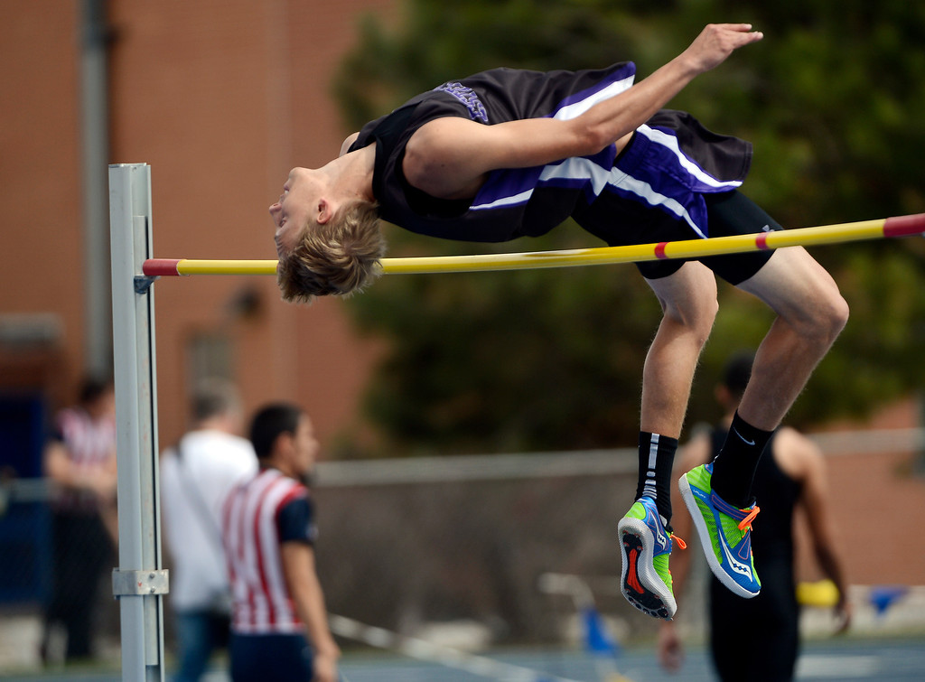 ". DENVER, CO. - APRIL 13TH: Andrew Cirone, Estes Park High School, clear 6\'5"" during the boys high jump competition at the Mullen Runners Roost 2013 Track and Field Invitational at Mullen High School, Saturday April, 13th 2013.(Photo By Andy Cross/The Denver Post)"