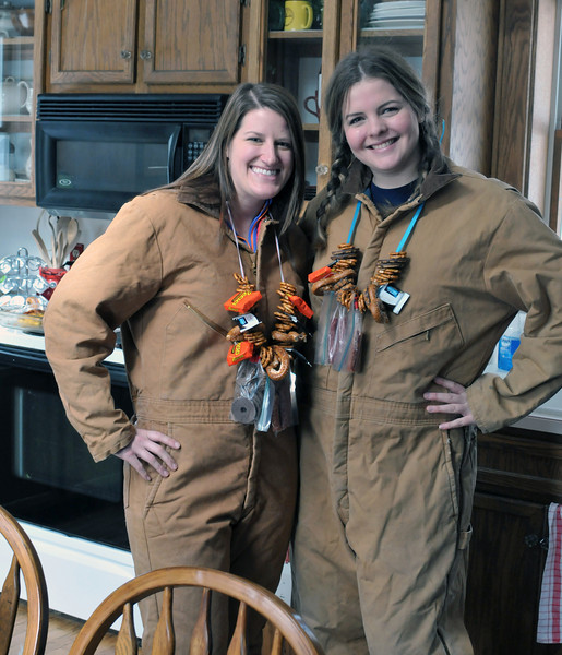 Betsy and Abby try the Carhartt look. Abby went for it.