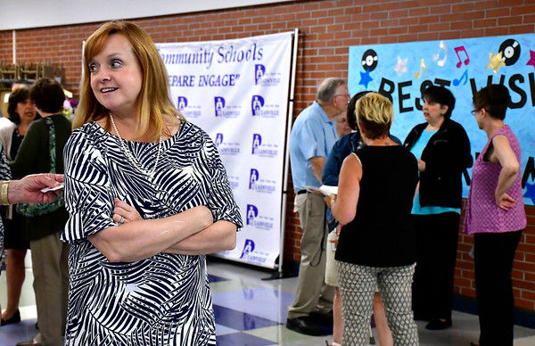6/11/2019 Mike Orazzi | Staff Maureen Brummett during her farewell reception at Plainville High School on Tuesday.
