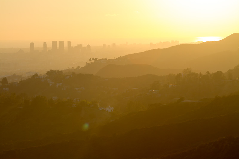 Santa Monica buildings in silhouette at sunset - USA - California - Los Angeles