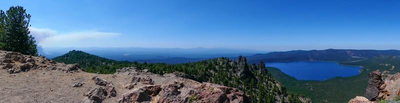 panorama of Paulina Lake from Paulina Peak