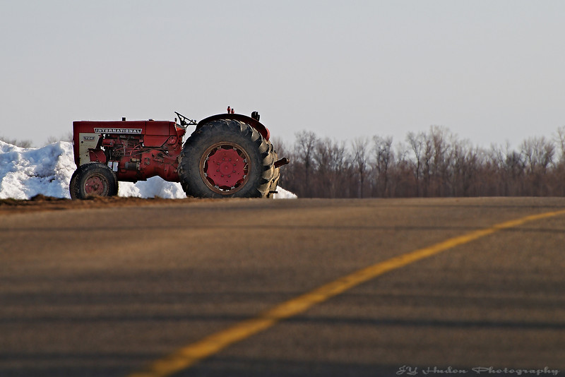 March 24th, 2008 - We came out of the car to shoot some landscape but I saw this tractor on top of the hill. I like old tractor. Have a great day -- JY