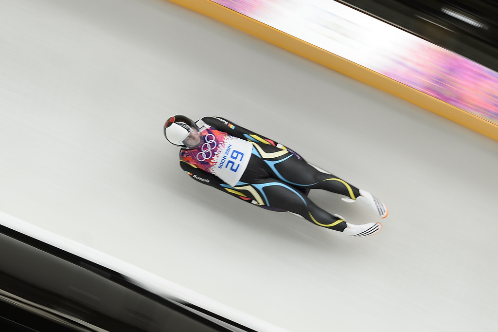 . Romania\'s Raluca Stramaturaru competes during the Women\'s Luge Singles run one at the Sliding Center Sanki during the Sochi Winter Olympics on February 10, 2014.   AFP PHOTO / LIONEL BONAVENTURE/AFP/Getty Images
