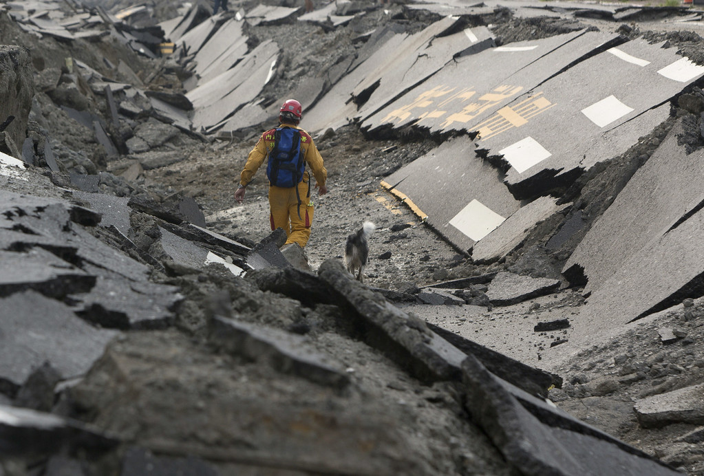 . A rescue worker and his dog search through the site on the damaged road after several gas explosions took place in southern Kaohsiung on August 1, 2014 in Kaohsiung, Taiwan. A series of powerful gas blasts killed 25 people and injured up to 267 in the southern Taiwanese city of Kaohsiung, overturning cars and ripping up roads, officials said. (Photo by Ashley Pon/Getty Images)