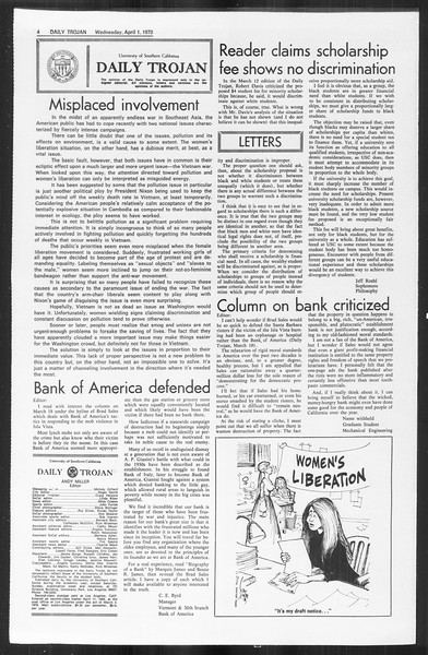 Daily Trojan, Vol. 61, No. 97, April 01, 1970