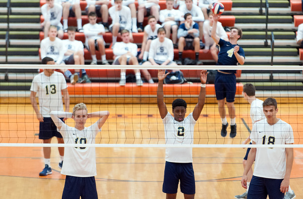 06/07/18 Wesley Bunnell | Staff Newington volleyball defeated Joel Barlow on Thursday night at Shelton High School to claim the Class M State Championship. Collin Liedke (4) serves.