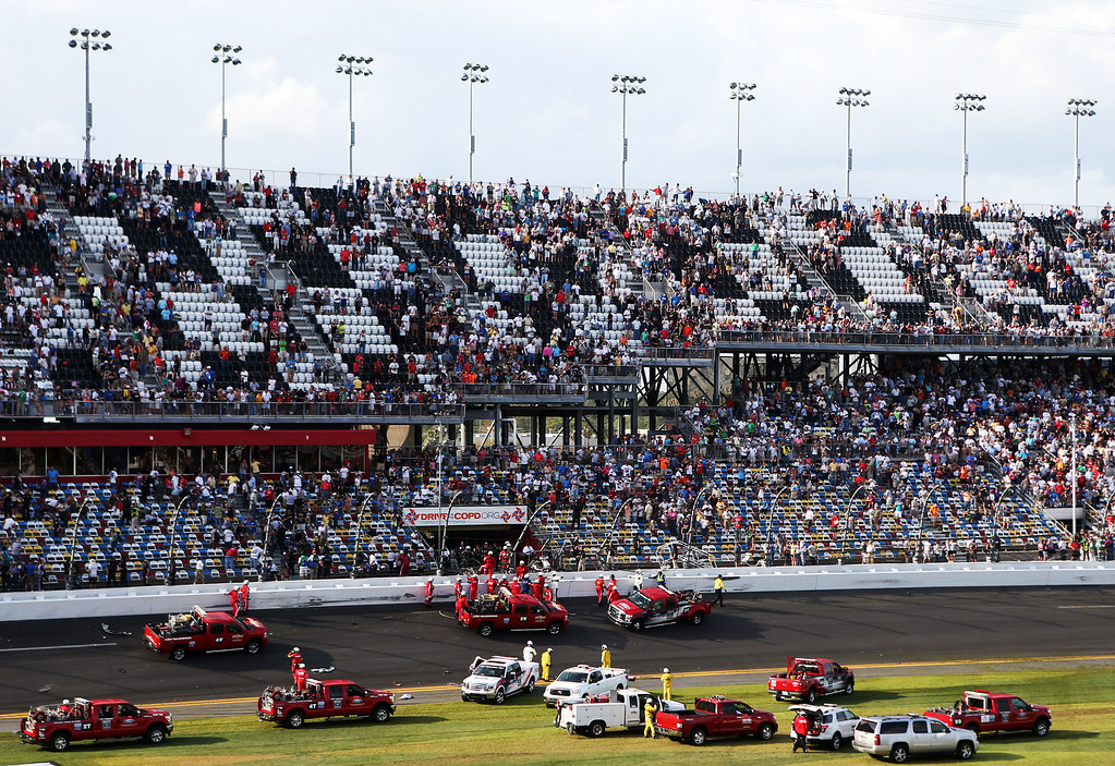 . DAYTONA BEACH, FL - FEBRUARY 23: A general view of the scene following an incident at the finish of the NASCAR Nationwide Series DRIVE4COPD 300 at Daytona International Speedway on February 23, 2013 in Daytona Beach, Florida.  (Photo by Matthew Stockman/Getty Images)