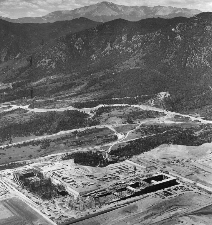 . Air Force Academy Takes Shape North Of Colorado Springs, 1958. Looking southwest toward Pikes Peak (top center), here is the site of the Air Force Academy being built 10 miles north of Colorado Springs. Major installations now under construction are located, along with others just getting started or still in the planning stage. The Denver Post Library Archive