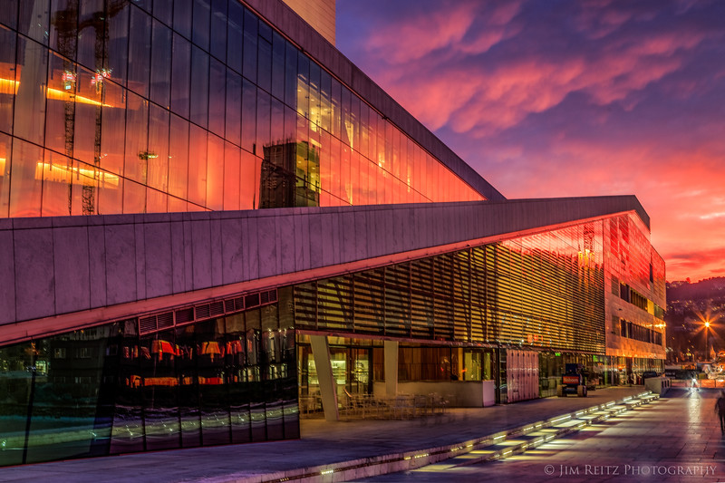 Oslo Opera House - reflecting the light from an insane sunrise.