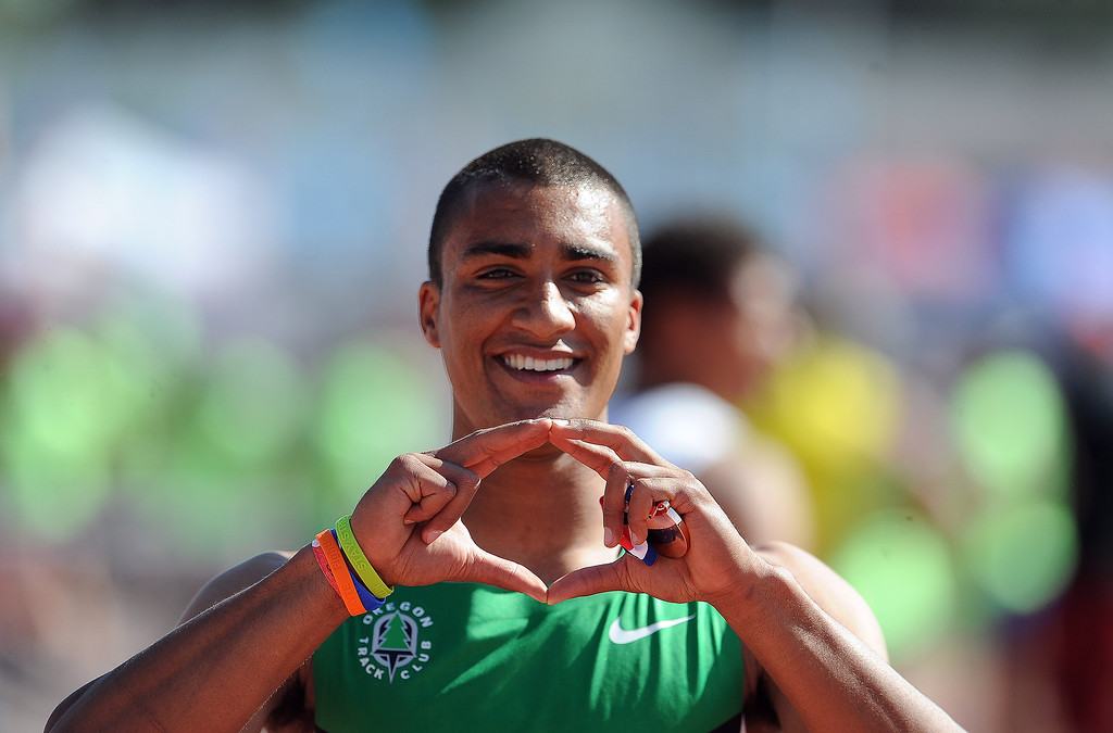. Ashton Eaton after finishing third in the 110 meter hurdles invitational elite during the Mt. SAC Relays in Hilmer Lodge Stadium on the campus of Mt. San Antonio College on Saturday, April 20, 2012 in Walnut, Calif.    (Keith Birmingham/Pasadena Star-News)