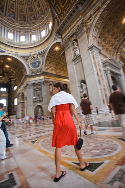 Visitors inside Saint Peter's basilica, Vatican
