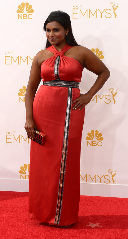 . Mindy Kaling on the red carpet at the 66th Primetime Emmy Awards show at the Nokia Theatre in Los Angeles, California on Monday August 25, 2014. (Photo by John McCoy / Los Angeles Daily News)