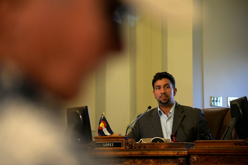 . DENVER, CO - AUGUST 04: Councilman Paul Lopez speaks about his stance on the case of Jamal Hunter. The Denver city council voted 10 to 1 in favor of a $3.25 million settlement in the Jamal Hunter jail abuse case on Monday, August 4, 2014. (Photo by AAron Ontiveroz/The Denver Post)